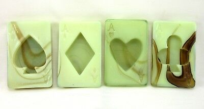 Vintage Deco 1930's Houze Glass Set Of 4 Aces Ashtray Playing Cards On-X-Glas!
