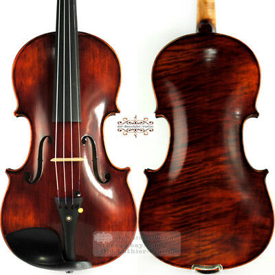 Pro Master Dark Antique Stradivari Violin 4/4 Rich Power Tone 1 Piece Maple Back