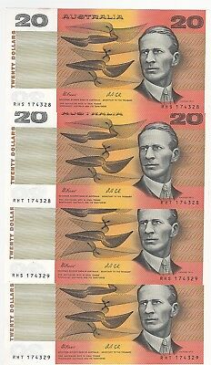 R413 $20 Fraser/Cole Twin Set of 4 notes Cons Prefixes and Cons numbers aUnc/Unc