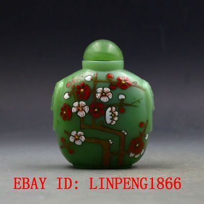 Antique Chinese Glass Hand-painted Plum Snuff Bottles L120