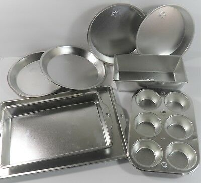 8Pc Ekco Ekcoloy Tin Asst. Baking Pans Cake Cookie Sheet Muffin Loaf Excellent!