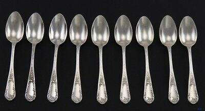 9 Antique Art Nouveau French 950 Sterling Silver Demitasse Spoons