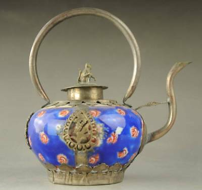 Old Chinese Cloisonne Copper Collectable Handwork Monkey Tea Pot
