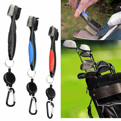 Metal Nylon 2 Sided Golf Club Brush Groove Ball Cleaner Cleaning Tool