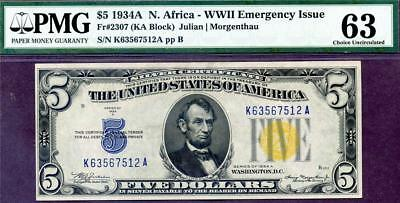 HGR FRIDAY 1934A $5 N.Africa ((Stunning)) PMG CHOICE UNC 63