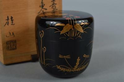 M7473: Japanese Wooden Lacquer ware TEA CADDY, Keizan made w/signed box