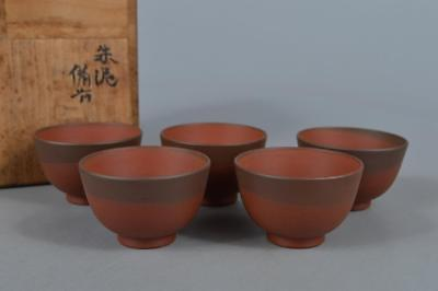 M7885: Japanese Tokoname-ware Brown pottery TEA CUP Senchawan 5pcs w/box