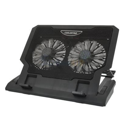 "10-17.4"" Laptop Tablet 2 Fans USB LED Cooing Cooler Pad Adjustable Stand Black"