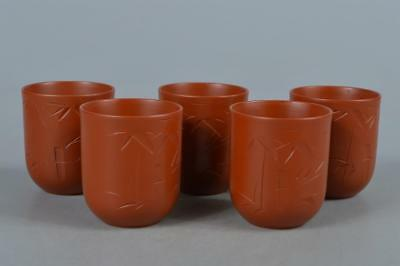 M7928: Japanese Tokoname-ware Brown pottery Sencha TEACUP Yunomi 5pcs