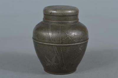 M8354: Japanese XF Old Tin Bamboo Poetry sculpture TEA CADDY Chaire Container