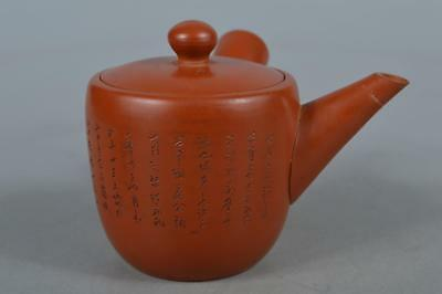 M8415:Japanese Tokoname-ware Brown pottery Poetry sculpture TEAPOT Kyusu Sencha