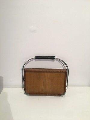 MCM Collapsible Vintage Wood/Chrome Tray Cobid Japan