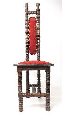 Vintage Spanish Jacobean Hall Prayer Chair Red Renaissance Revival Gothic (1of2)