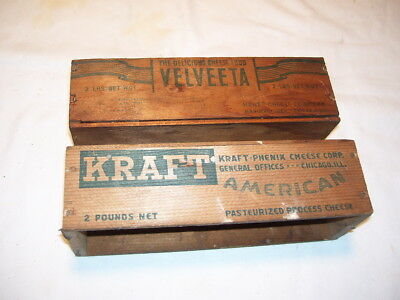 Pair of Antique Vintage Primitive Kraft and Velveeta Wood Cheese Boxes