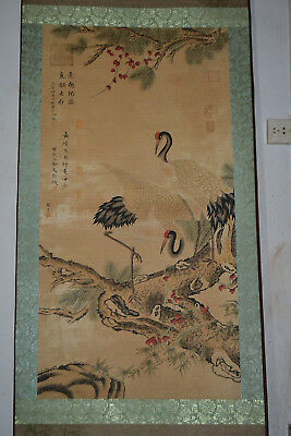 Cui Bai Collectible hand paint crane On Branch old rare Scrolls china art
