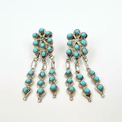 Native American Zuni Wayne Johnson Sterling Silver Turquoise Cluster Earrings