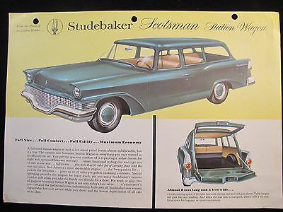 1958 Studebaker Original Data Spec Sheet Brochure Scotsman Station Wagon