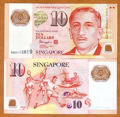 Singapore, 10 Dollars, ND (2018), Polymer, P-48-New, UNC >  Solid Triangle
