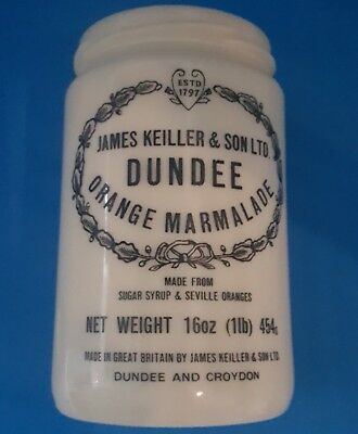 VTG James Keiller & Son LTD Dundee Orange Marmalade Stoneware Glass Jar 16oz