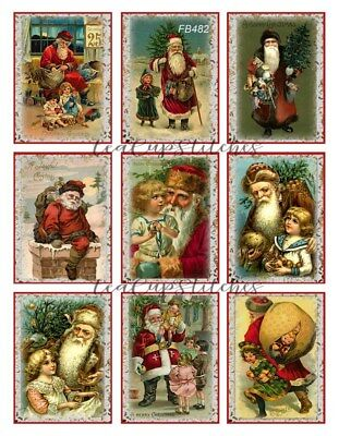 Victorian Santa~Children~Christmas FABRIC BLOCKS~Antique Postcard Designs~482