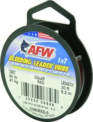 AFW C090RED-0 Bleeding Leader Wire Nylon Coated 1x7 Stainless, 90 lb