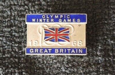 Grenoble 1968 Winter Olympic Games Great Britain Delegation Enamel Badge #33