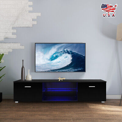 High Gloss Black LED Shelves TV Stand Unit Cabinet 2 Drawers Console Furniture