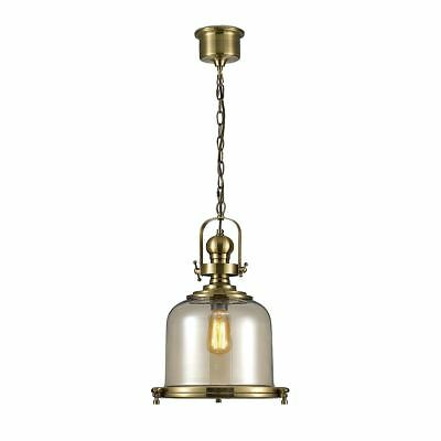 Diyas Riley Single Medium Bell Pendant 1 Light E27 Antique Brass/Cognac Glass