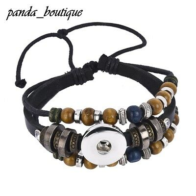 DIY Charm Snap Leather Bracelet Braided Leather Snap Button Bangles Fit 18mm
