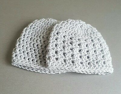 Pack of 2  baby Hats  in premature 31b - 5.51b in light grey
