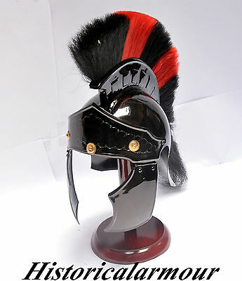 Antique Roman Spartan Greek Black/red Plume Armoury Helmet Prop Reenactment Gift