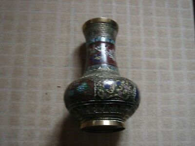 "Bronze Champlever Vase 10"" Tall"