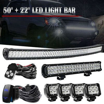 "Curved 50Inch LED Light Bar Combo + 22in +4"" Cree Pods Offroad SUV ATV 4WD 52/20"