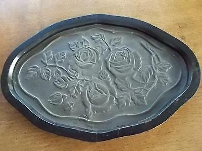 Vtg Wooden Antique Pewter Arts & Crafts Tray GLASGOW ROSE Design Ebonised Wood
