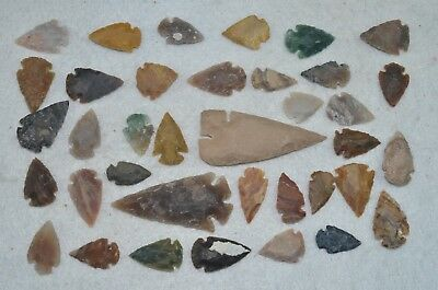"37 PC Flint Arrowhead Ohio Collection Points 2-3"" Spear Bow Knife Hunting Blade"