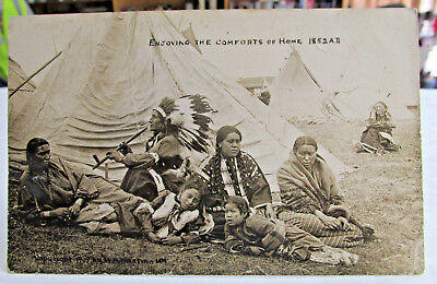 1909 Real Photo postcard of American Indians, photo by W.H. Martin 101 Ranch