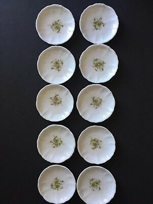 Vintage / Antique Butter Pats Lot of 10 ~ All Matching ~ Embossed & Floral