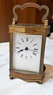 Antique Serpentine Case Brass four glass French Carriage Clock