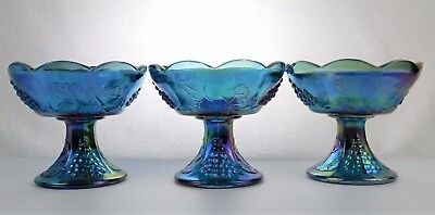 Vintage Indiana Blue Carnival Glass Harvest Grape Candle Holders Lot of 3