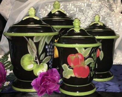 Certified Int Corp 4 Box Set Of Canisters Hand Painted Black/fruit Green Trim