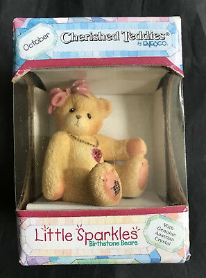 Enesco Cherished Teddies Little Sparkles Birthstone Bear  October