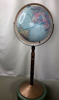 """Vintage 12"""" Replogle World Nation Globe 33"""" tall on Wooden and Metal Stand VGUC"""