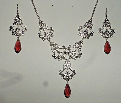 Filigree Victorian Styl Silver Plate Plum Purple Briolette Necklace Earring Set