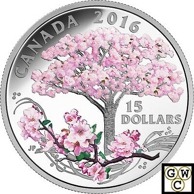 2016 'Cherry Blossoms' Colorized Proof $15 Silver Coin .9999 Fine (17620) (NT)