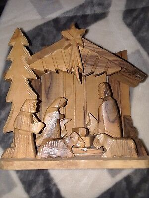 Olive Wood Nativity Set Israel Solid one Piece
