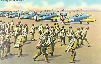 Vintage Air Force Linen POSTCARD WWII  GETTING READY FOR FLIGHT Military