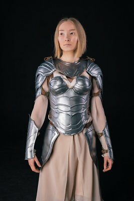 Medieval Female Full Suit of Armor Set Steel Nymph/Bracers/Pauldrons/Gorget