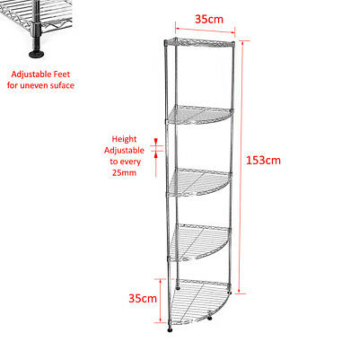 153x35x35cm Real Chrome Corner Wire Rack Metal Steel Kitchen Shelving Racks S247