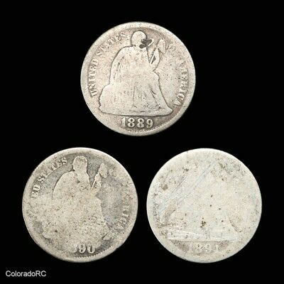 Date Run Lot of Three U.S. Mint 10C Seated Liberty Silver Dimes, 1889-1891 Dates