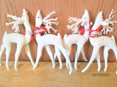4 Vintage White Flocked Reindeers With Glitter Antlers Christmas Figures